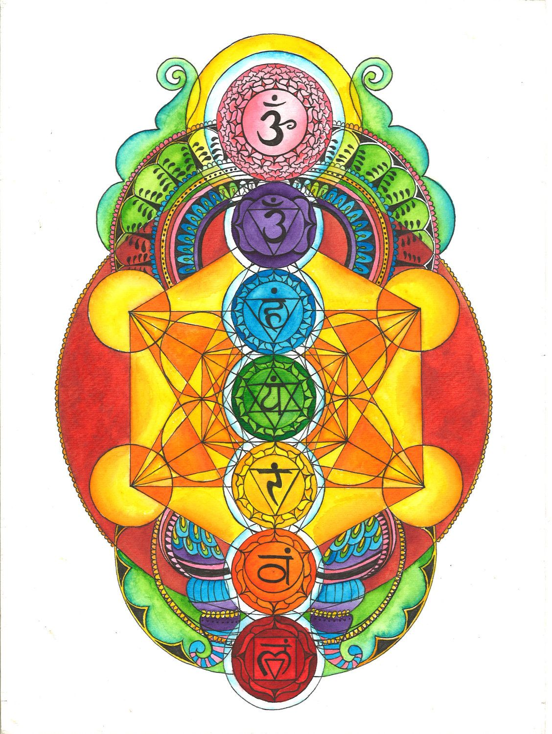 Chakras with Metatron's Cube Watercolor Painting. $40.00, via Etsy.