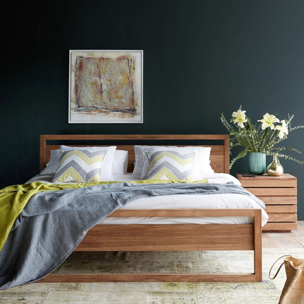 Teak Bed Frame Light Frame Bed Singapore Size In 2020 Light Wood Bed Dark Wood Bed Frame Wooden Bed Frames