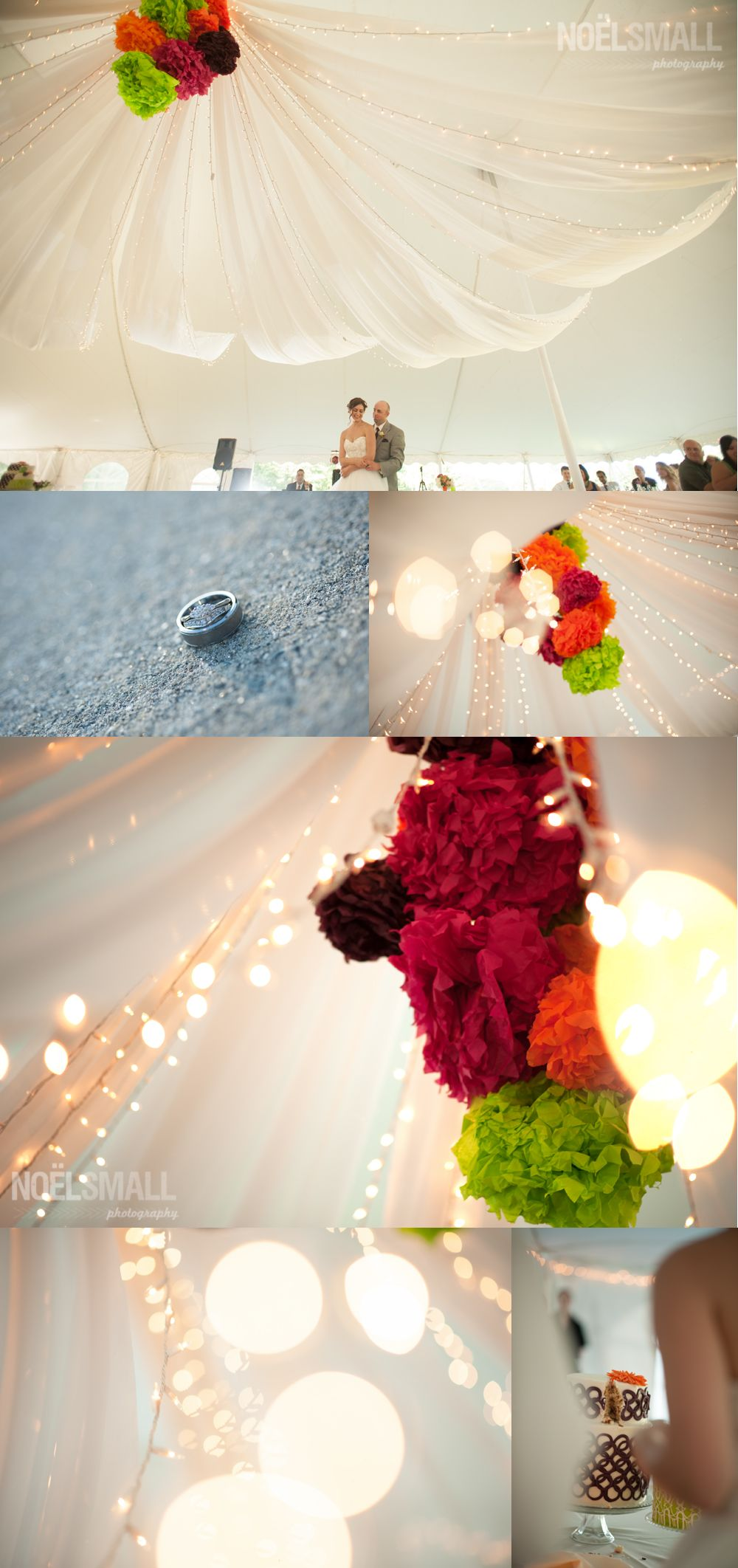 Fabric Canopy In Tent Over Dance Floor With Twinkle Lights And