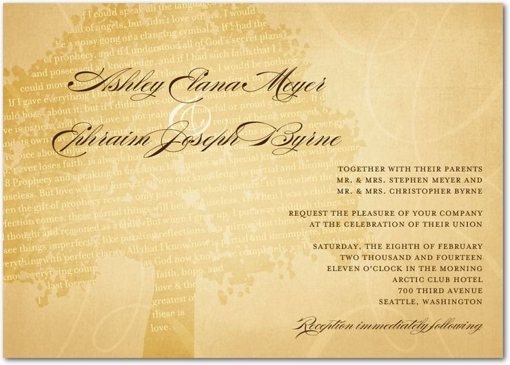 Signature White Textured Wedding Invitations - Radiant Oak by Wedding Paper Divas