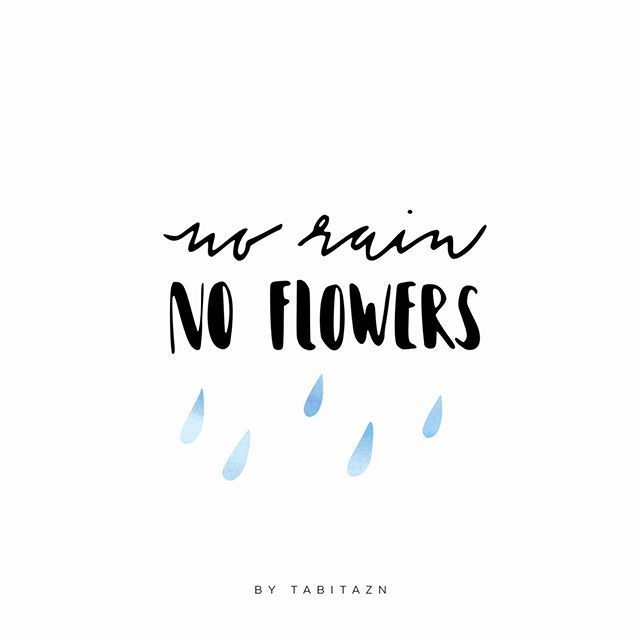 A Bit Cloudy Today But No Rain, No Flowers! : ) #handlettering #lettering  #Regram Via @sabinaaghova Quote | SAY IT AGAIN! | Pinterest