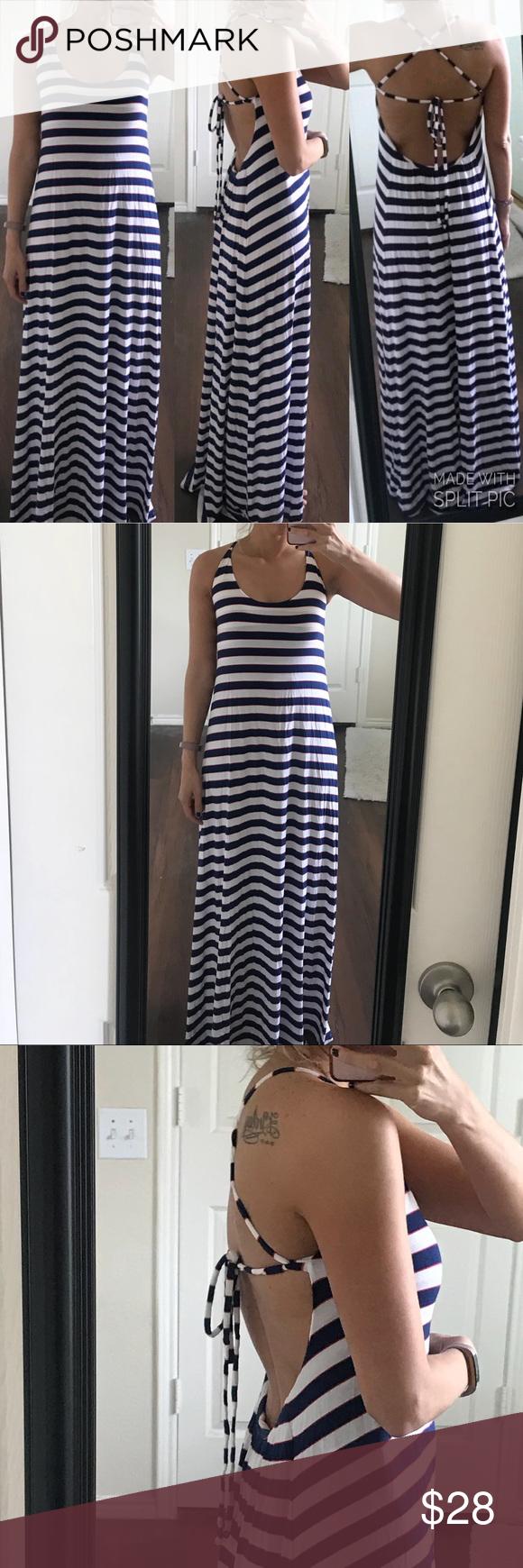 Victoria S Secret Open Back Striped Maxi Dress Clothes Design Fashion Striped Maxi Dresses [ 1740 x 580 Pixel ]