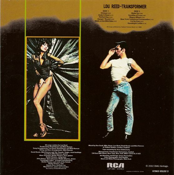 39d529d1a Back cover of Lou Reed's Transformer featuring model Gala Mitchell ...