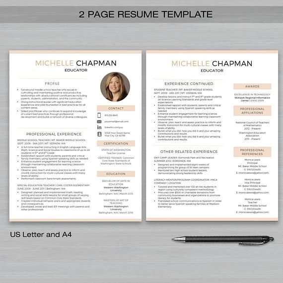 2 Pages Resume Template Free Download.Teacher Resume Template With Photo For Ms Word And Pages 1