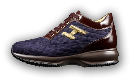 HOGAN - Interactive sneakers in quilted deep blue suede with ...