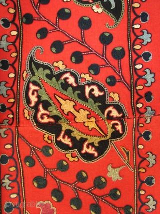 SM_88 Large Central Asian Shahrisabz Suzani, Silk Embroidery on Wool Tradecloth, 19th Century, 81 x 104 inches This has wonderful scale, very fine embroidery and nice colors. It is also ...
