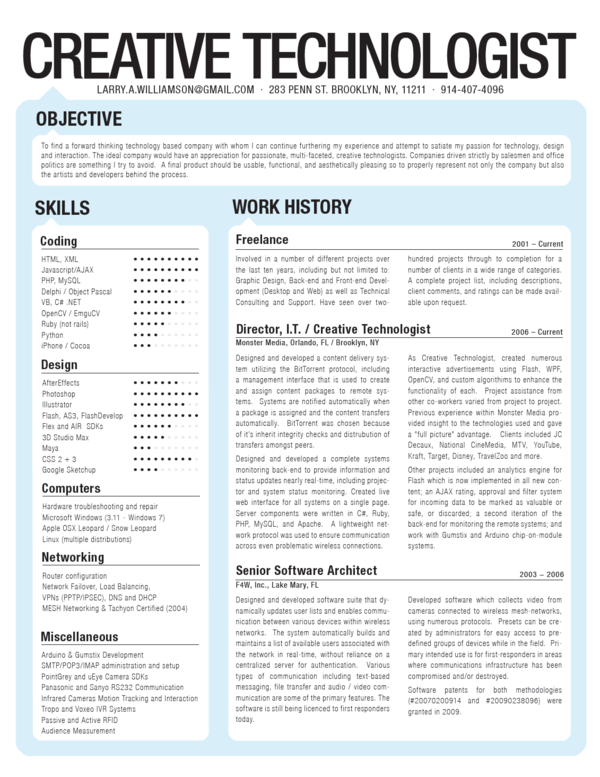 Resume by Larry Williamson, via Behance