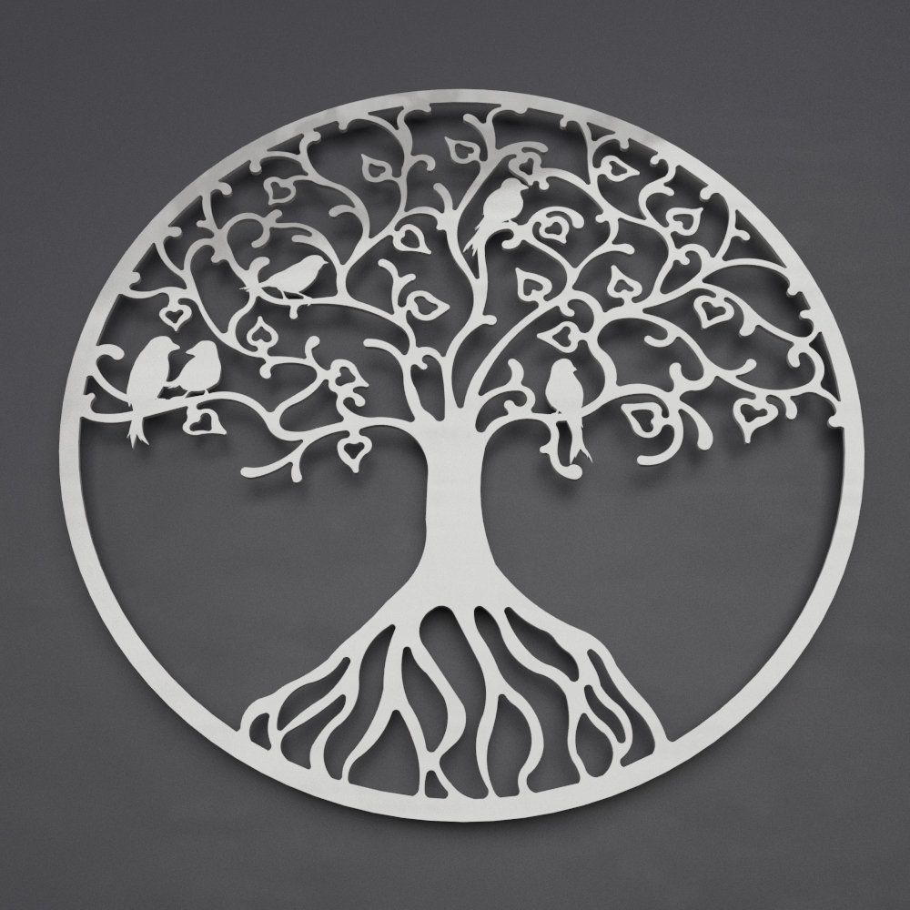 Tree of life metal wall art with love birds metal tree wall art large