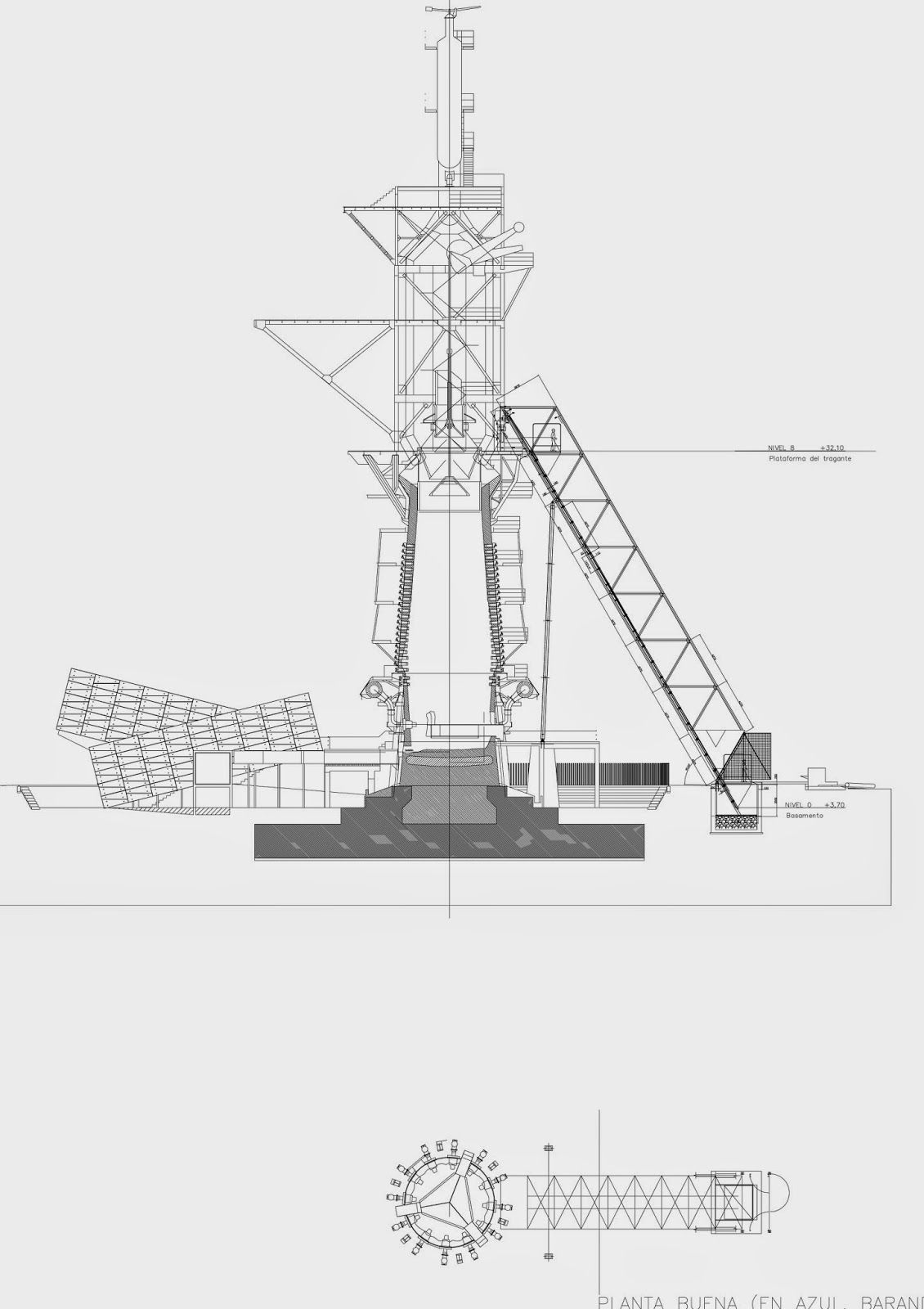 Patrimonio Industrial Arquitectónico La Colocación Del Elevador Del Horno Alto Nº 2 De Puerto Sagunto Elevador Horno Arquitectonico Y Industrial
