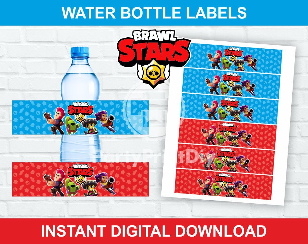 Brawl Stars Water Bottles Labels Dogum Gunu Kutular