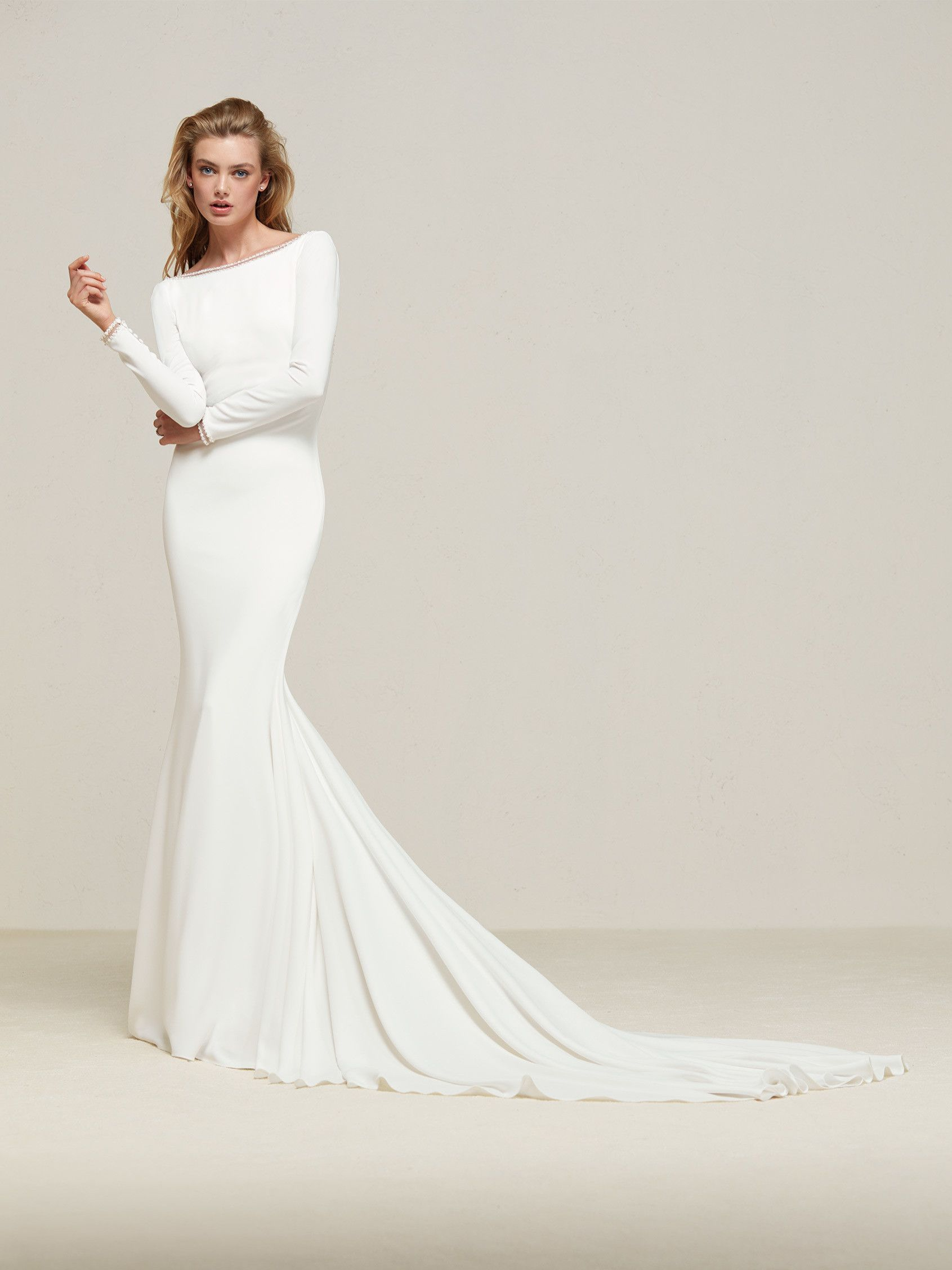 Drana: Simply elegant. Mermaid style wedding dress with long sleeves ...