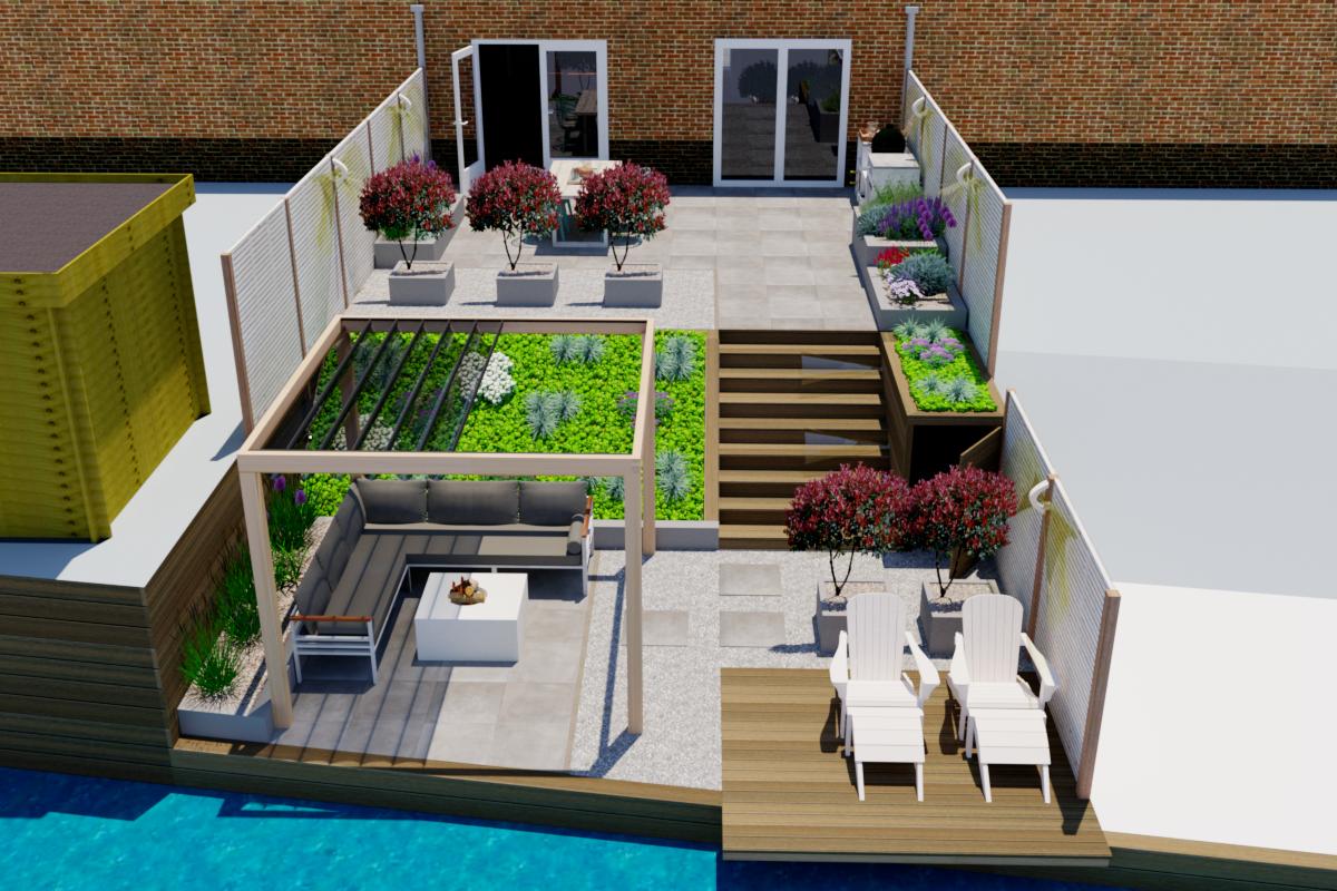 3d tuinontwerp moderne achtertuin amstelveen tuin met for Tuinontwerp amstelveen