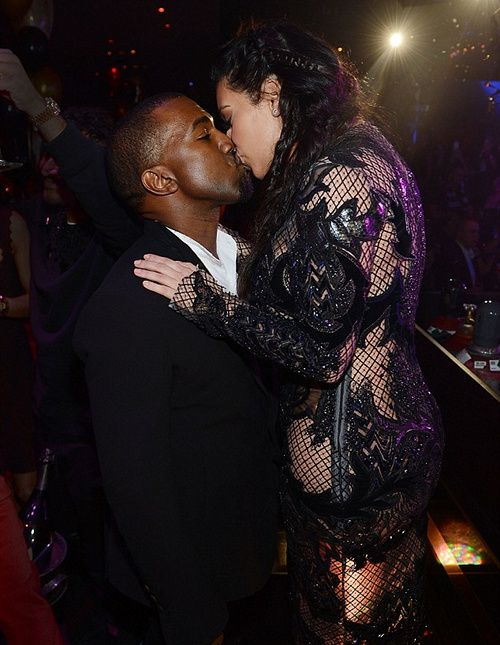 Kanye West Kim Kardashian Kissing At Night Party Kim Kardashian