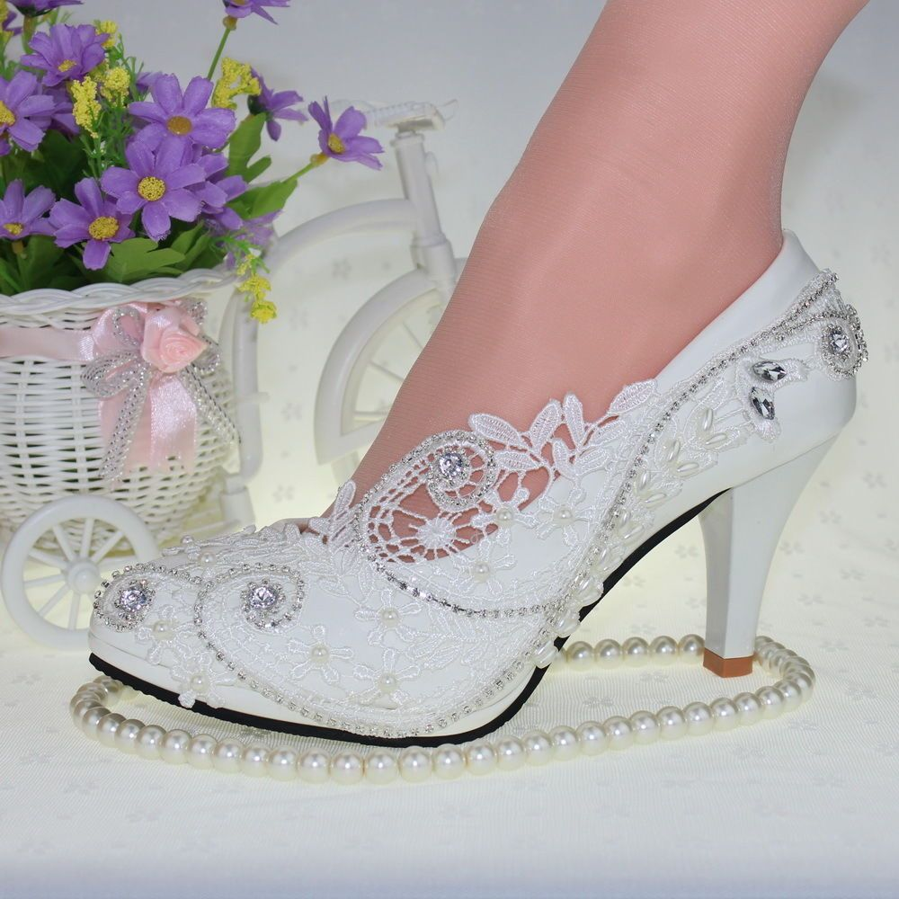 afb56d62ec94 Lace White Ivory Crystal Wedding Shoes Bridal Flats Low High Heel Pump Size  5 10