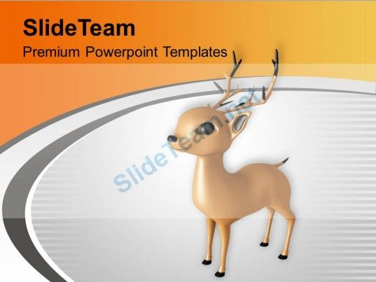 Christmas Reindeer Winter Holidays PowerPoint Templates PPT Themes - winter powerpoint template