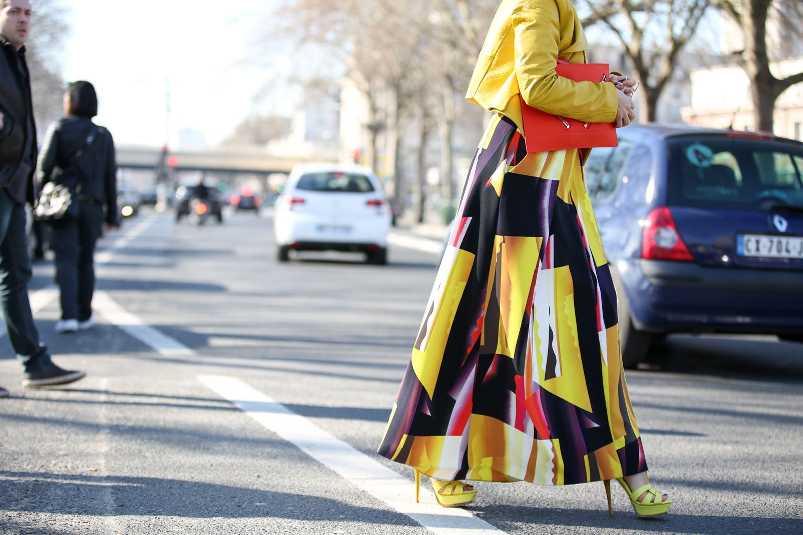 84 Outfit Ideas For Style Extroverts #refinery29  http://www.refinery29.com/2015/03/83675/paris-fashion-week-2015-street-style#slide-54  Not-so-mellow yellow.Kenzo skirt and bag....