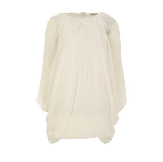 cream split sleeve dress