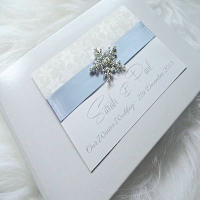Crystal Snowflake   Winter Wedding Guest Book   Personalised Guest ...