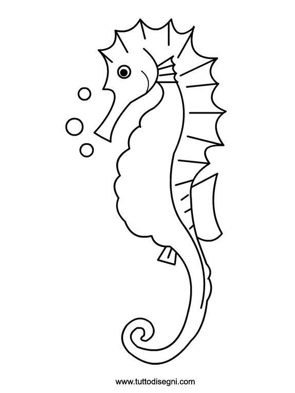 disegno da colorare per bambini cavalluccio marino