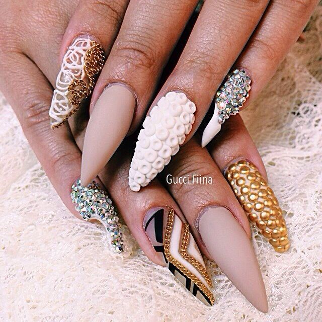 Nail art stiletto yellow funky pink nails neon crystal tips ombre ...