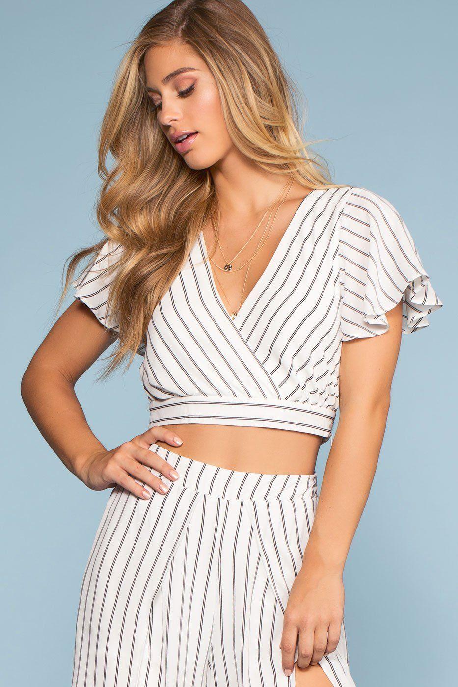 fa90ecc3ca0e1 Take It Breezy Striped Wrap Top Culotte Pants
