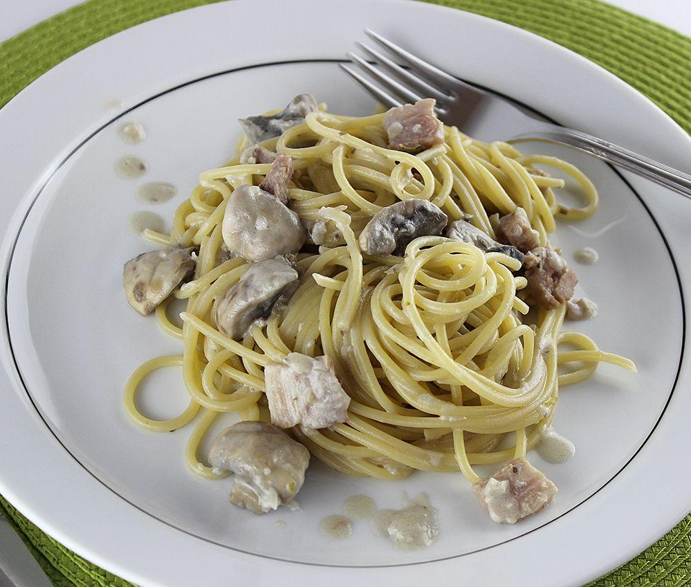 Espaguetis amb xampinyons i bacó #thermomix