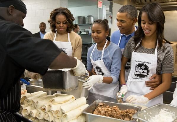 the obama family at service project today at dc central kitchen happy mlk day - Dc Central Kitchen