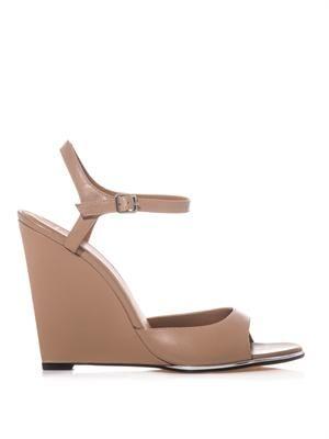 4e8df1a54e3 Leather wedge sandals