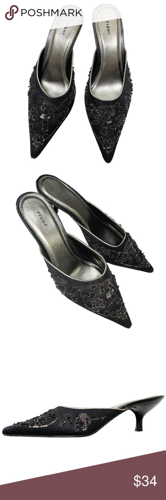 Fioni Elegant Kitten Heel Pointy Toe Mules Size 10 Kitten Heels Pointy Toe Shoes Heels