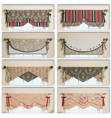 i love the button detail on this valance, as well as the fabrics