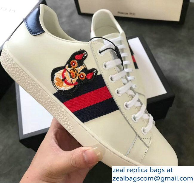 b614268ac9d Gucci Ace Leather Low-Top Lovers Sneakers Web Embroidered Boston Terrier  Bosco Creamy 2018 2803115330