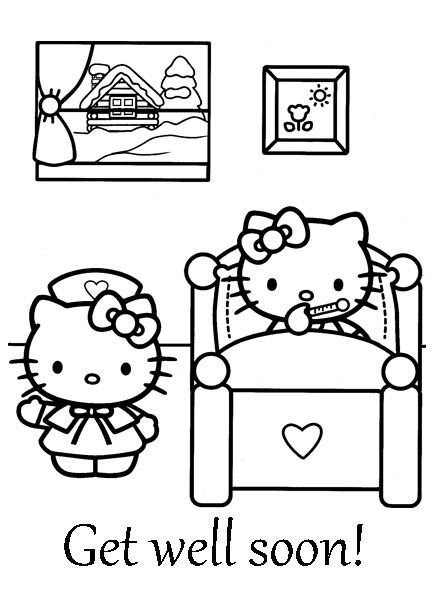 Get Well Soon Coloring Sheet Hello Kitty Hello Kitty Coloring