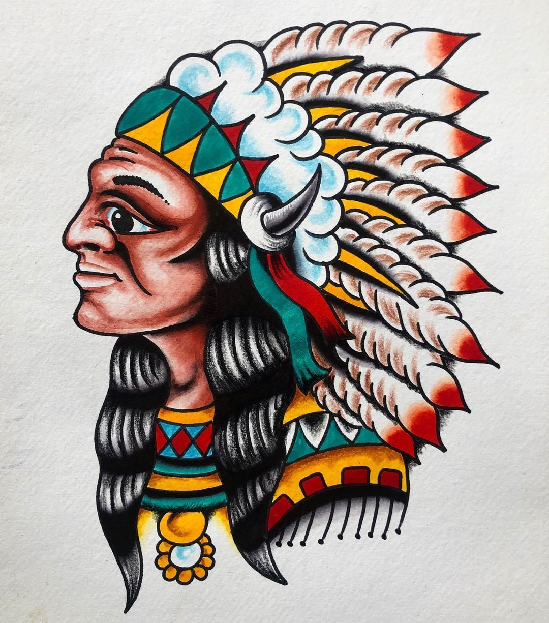 Big chief. FOR SALE £70 including postage. A4 size, ink and coloured pencil. If you would like to buy it, shoot me a dm! . . . . . . . . . . . . . . .  #tattoo #tattoos #ink #inked #art #tattooartist #tattooed #tattooart #tattoolife #blackwork #love #tattooing #tattooist #artist #tatuagem #tattooer #blackandgreytattoo #me #tatuaje #instagood #tattoodesign #blackandgrey #traditionaltattoo #tattooideas #drawing #tattooink #inkedgirls #tattoostyle #tatuajes #bhfyp