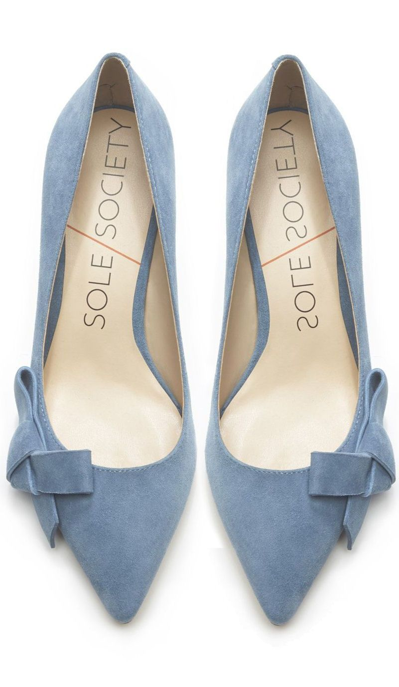 Dusty Blue Bow Pumps Pantone Serenity Sky Blue French