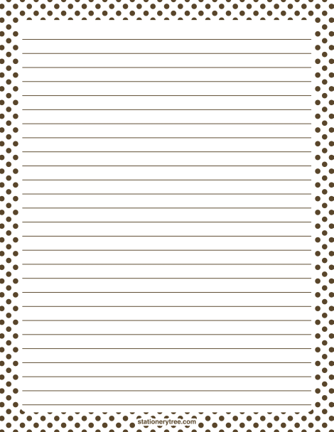 Printable Brown And White Polka Dot Stationery And Writing Paper