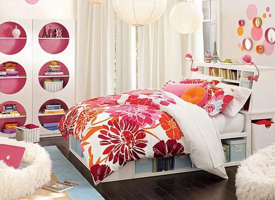 Flowers Beds and Pink Furniture for Teen Bedroom - Home Interior