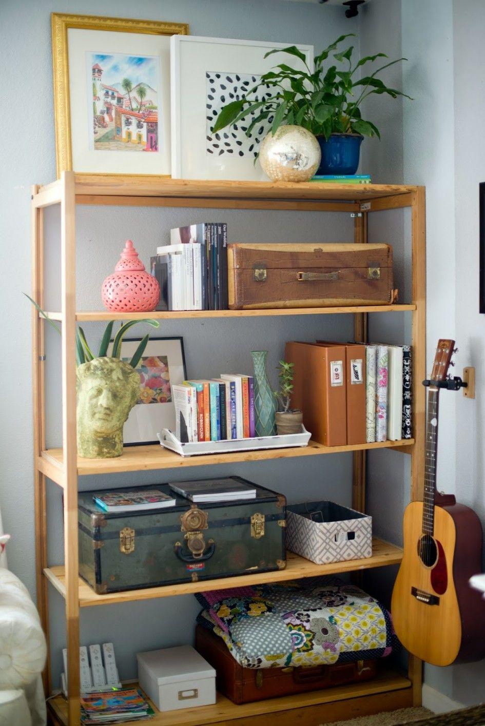 Interior Simplistic Oak Unfinished Living Room Shelves 4 Tier Open Rack Design With Calssic Guitar Inside Living Room Shelves Shelving Units Living Room Decor #shelves #design #in #living #room