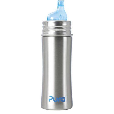 Pura Kiki Stainless Steel Sippy Cup 11 Ounce Walmart Com Glass Baby Bottles Toddler Bottles Straw Bottle