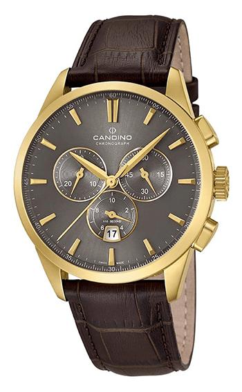 Montre Quartz Candino Homme C4518-2 - Chronographe - Cadran Acier inoxydable Doré - Verre Saphir inrayable - Bracelet Cuir Marron
