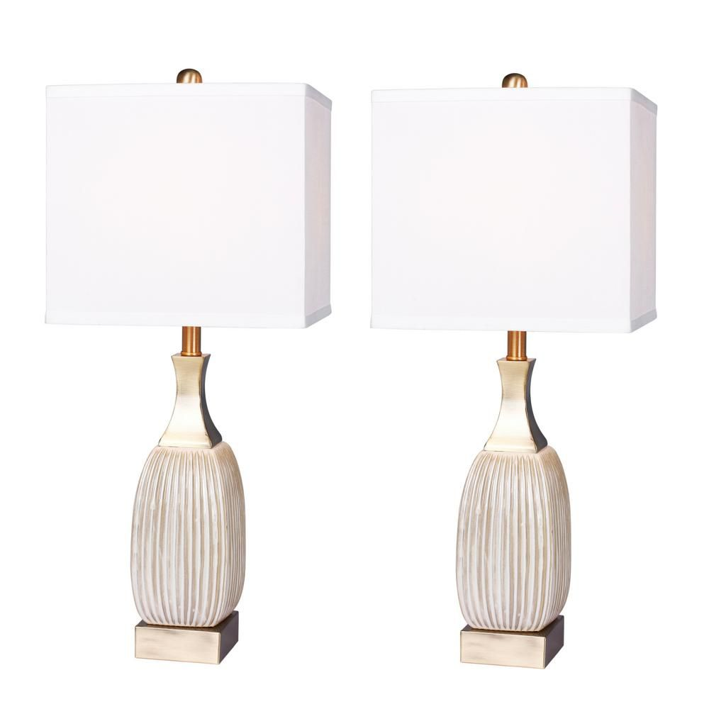 Fangio Lighting 26 5 In Vertically Ribbed Aged White Ceramic And Antique Brass Table Lamp 2 Pack Table Lamp Brass Table Lamps Lamp Sets