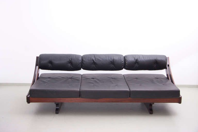 Gianni Songia Rosewood and Leather Daybed in Original Vintage Condition | From a unique collection of antique and modern day beds at http://www.1stdibs.com/furniture/seating/day-beds/