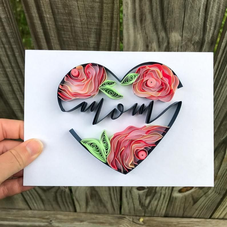 Mother's Day Gift - Heart and Flowers - Art for Mo
