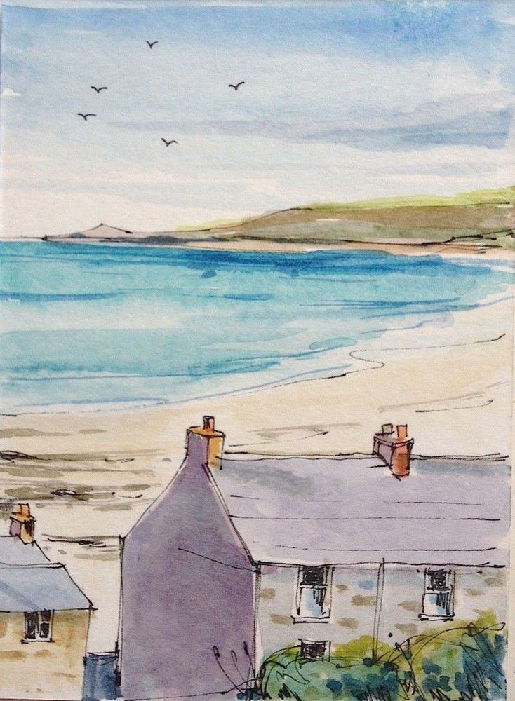 Original Watercolour Painting Aceo Cottages By The Sea By