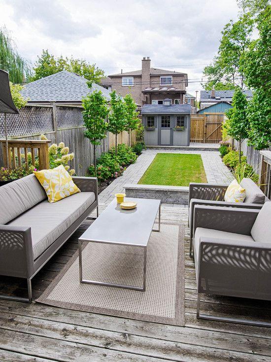 small garden landscape design wooden deck and stylish patio ... - Small Back Patio Ideas