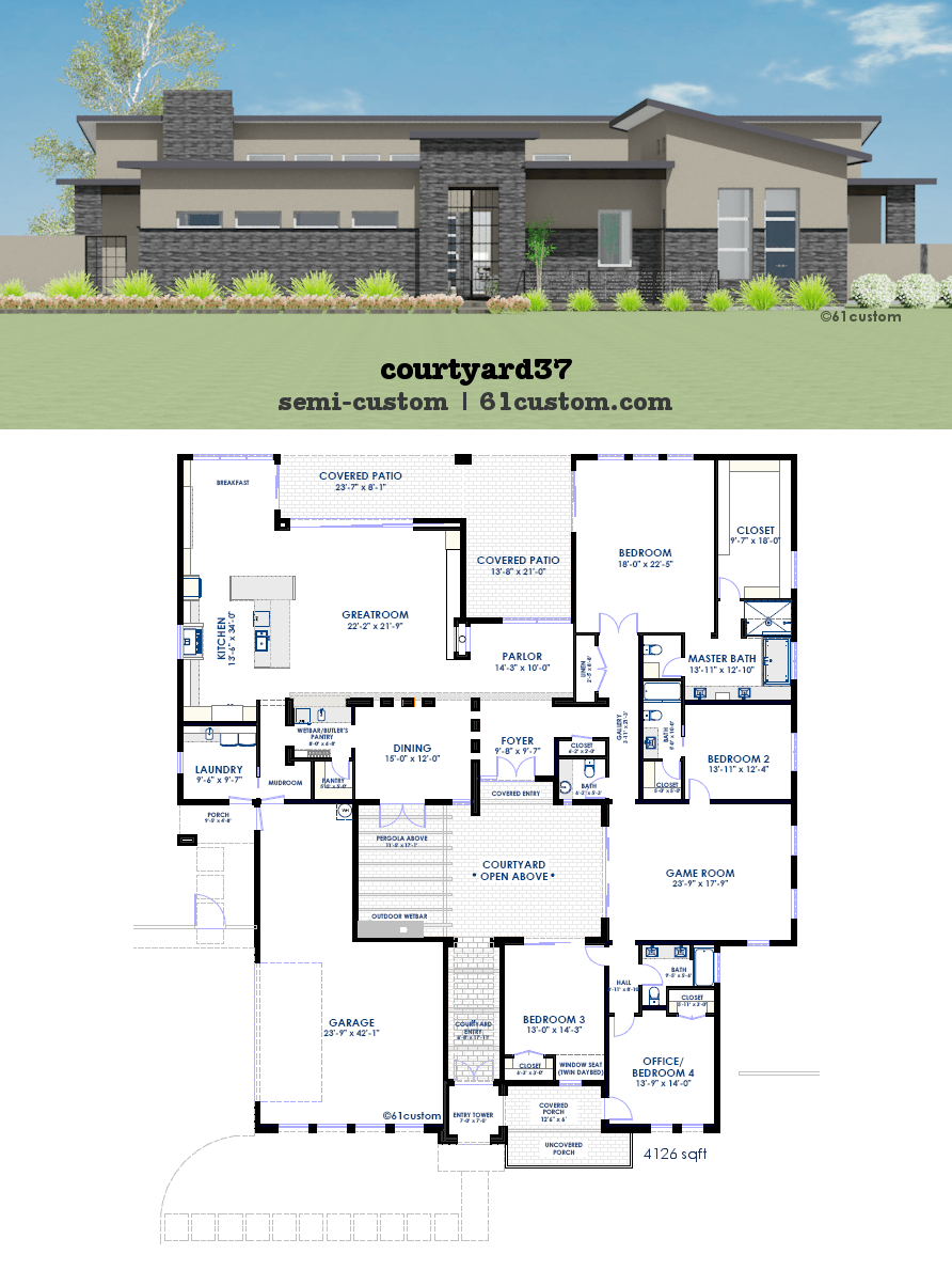 Modern Courtyard House Plan 61custom Contemporary Modern House Plans Courtyard House Plans Modern Farmhouse Plans Modern Courtyard