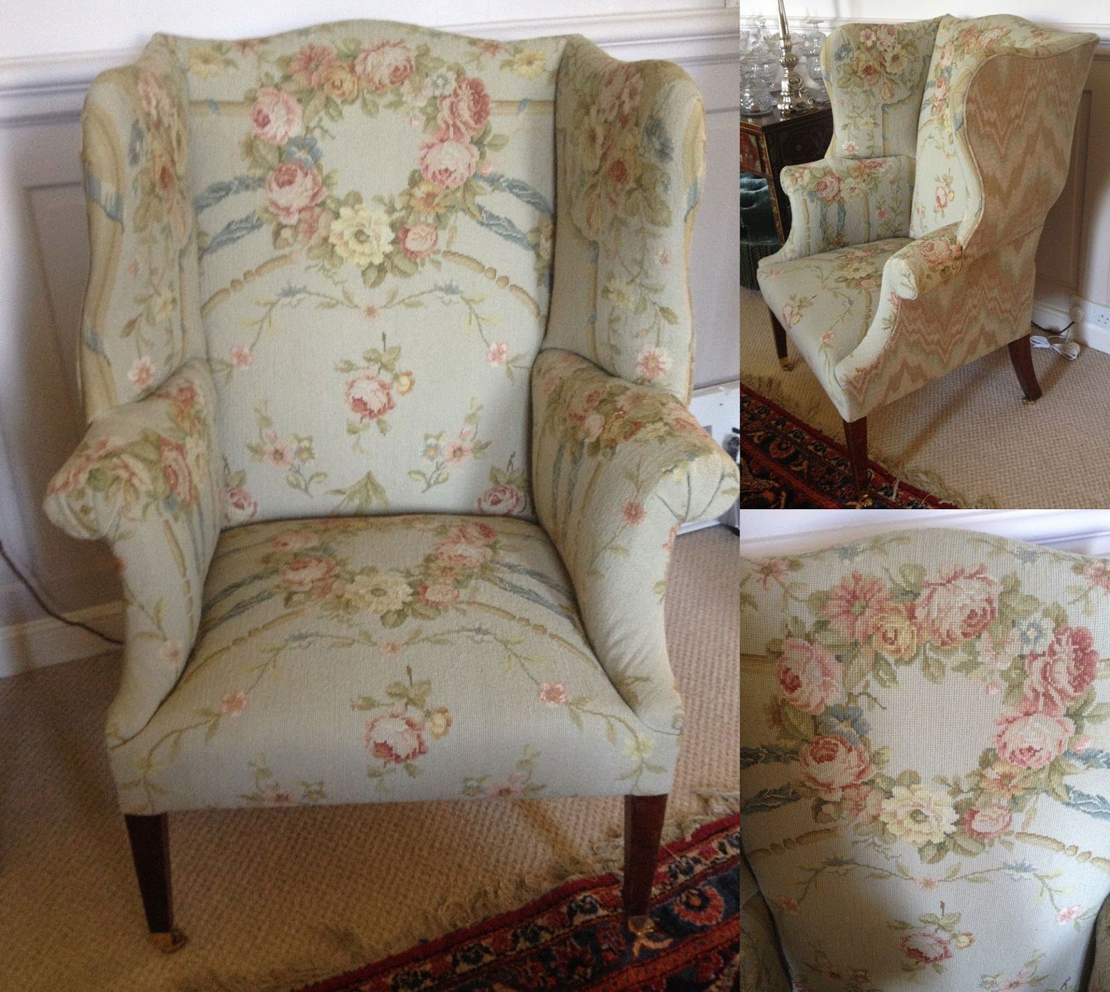 Chair covered in French Aubusson rug - The Painted Room | home decor