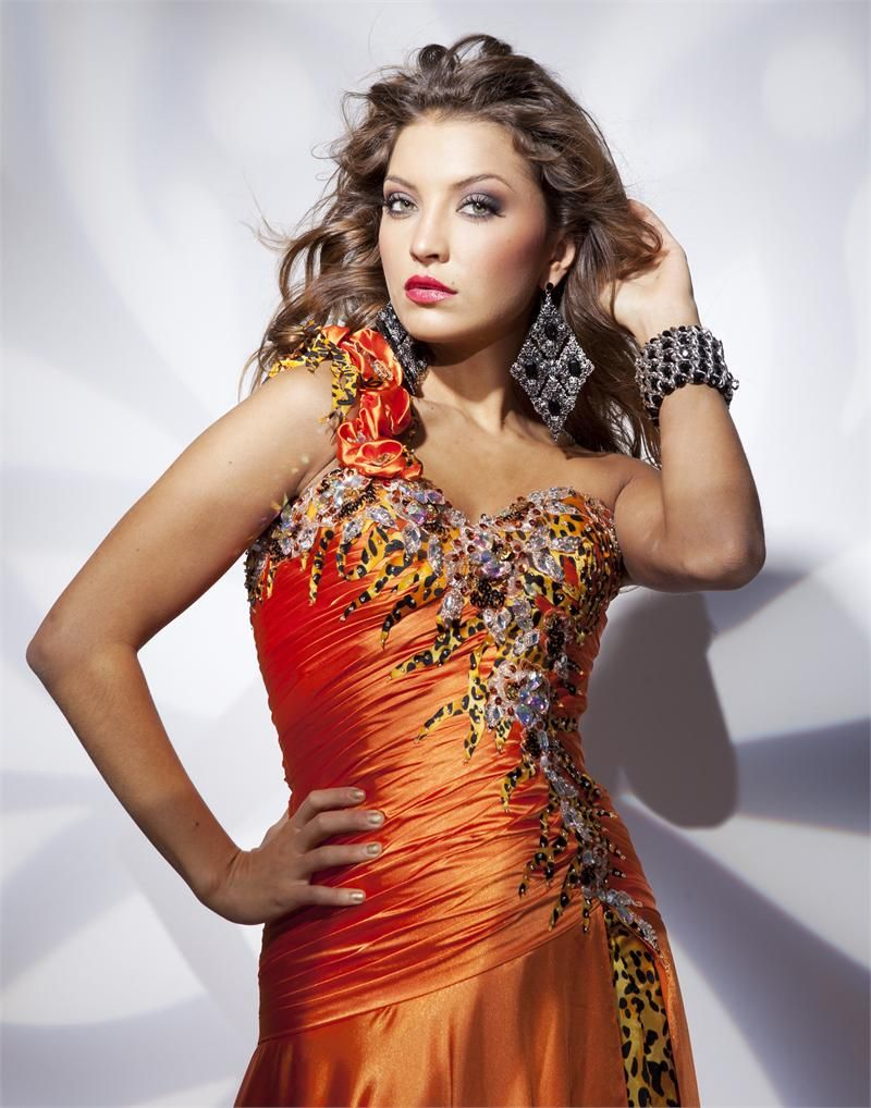 Tonybowls orange prom dress with leopard print promdress