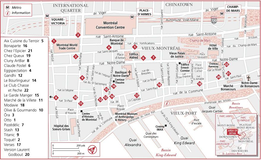 Montreal Downtown Tourist Map Path Decorations Pictures Full - Old montreal map