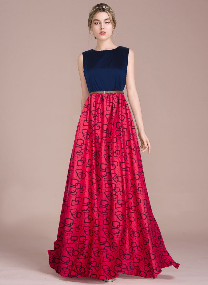 6ef926a879 Bollywood New Party Wear Stylish Designer Printed Western Gown Dresses With  Belt  FlowersFashion  PartyWear