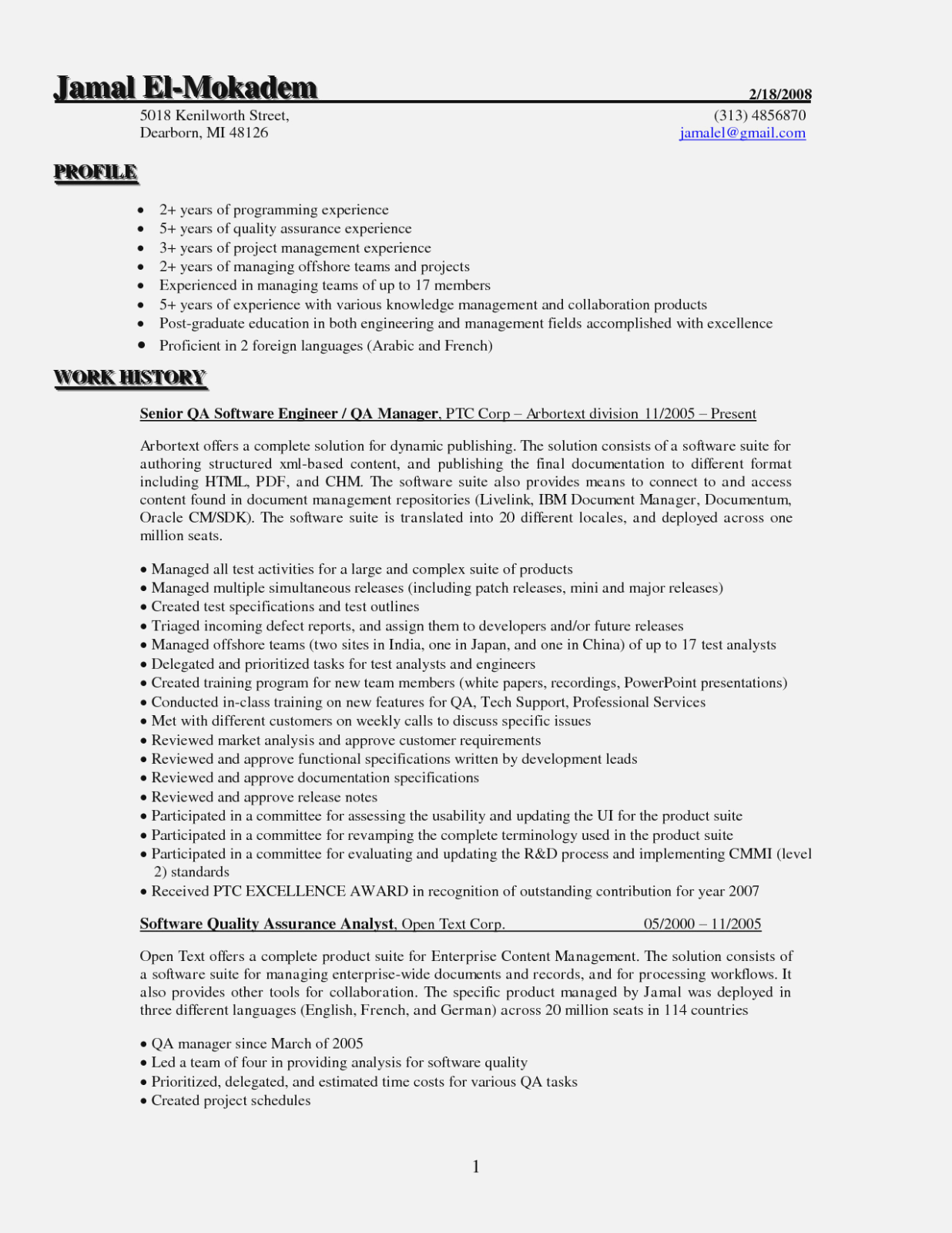 Quality Assurance Manager 3 Resume Templates Resume Format